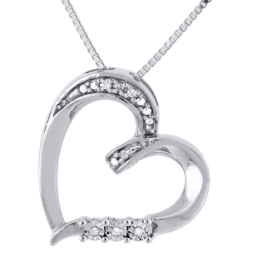 Diamond Heart Pendant .925 Sterling Silver Love Charm Necklace w/ Chain 0.03 Ct.