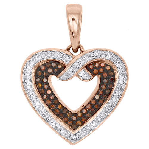 10K Rose Gold Red Diamond Open Heart Pendant Ladies Necklace 0.25 CT.