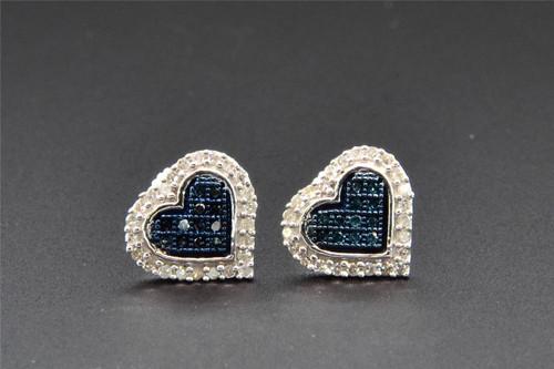 Blue Diamond Heart Stud Earrings 10K White Gold 1/4 Ct Screw Backs 10mm