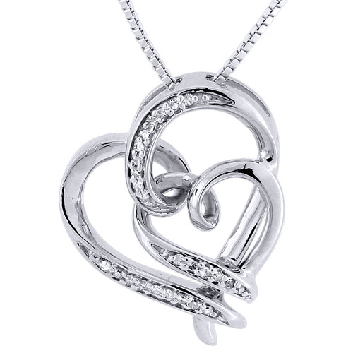 .925 Sterling Silver Diamond Double Heart Pendant & Chain Love Necklace 0.10 Ct.