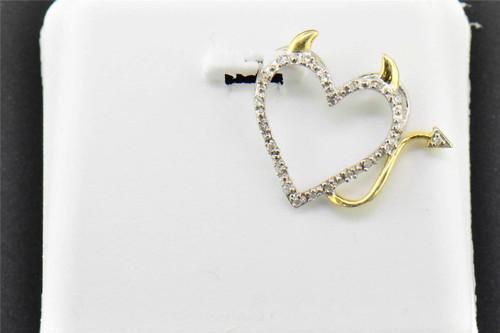Diamond Devil Heart Pendant .925 Sterling Silver 0.05 CT Charm