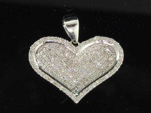 Ladies 10K White Gold Love Heart Pave Diamond Pendant Charm For Necklace .50 Ct