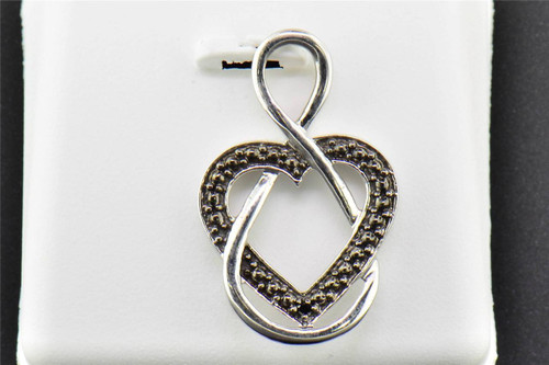 Black Diamond Heart Knot Pendant .925 Sterling Silver 0.01 CT Charm with Chain