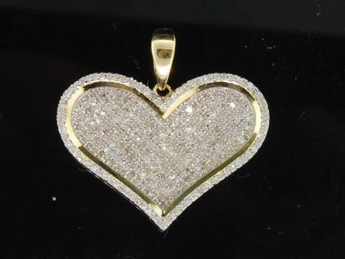 Ladies 10K Yellow Gold Love Heart Pave Diamond Pendant Charm For Necklace 1 CT.