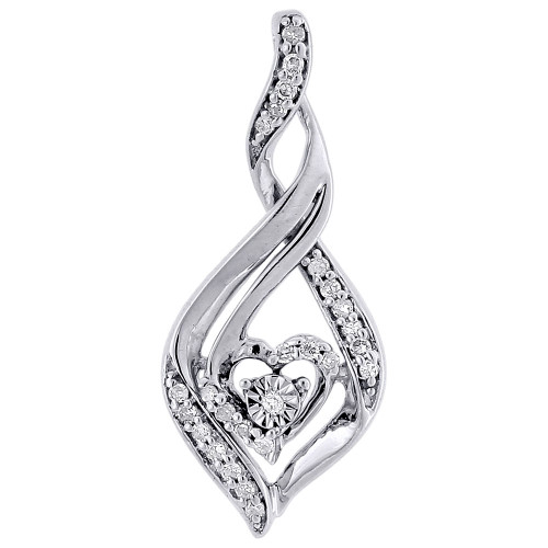 Solitaire Heart Infinity Design Diamond Pendant Gold Charm 0.14 CT.