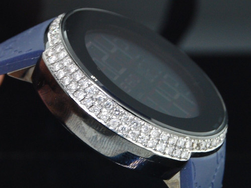 Diamond Gucci Watch YA114208 Custom Half Case Digital Blue Band Genuine 2.5 Ct.