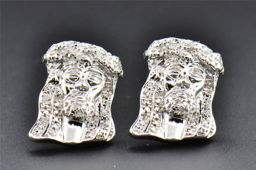Diamond Studs .925 Sterling Silver Jesus Face Earrings .20 CT