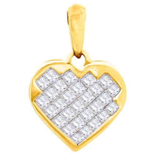 Diamond Heart Shaped Pendant Ladies 14K Yellow Gold Princess Cut Charm 0.42 Ct.