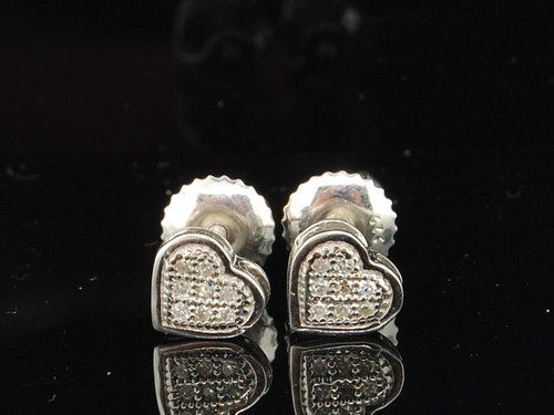 LADIES STERLING SILVER WHITE DIAMOND PAVE STUDS EARRINGS HEART LOVE SHAPE PAVE