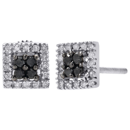 10K White Gold Black Diamond Stud Ladies 6.75mm Square Halo Earrings 1/4 Ct.