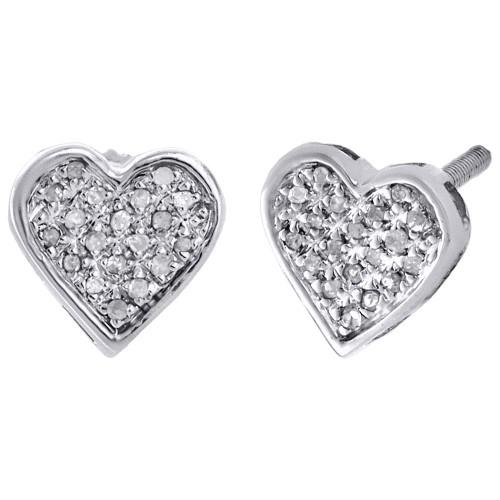 .925 Sterling Silver Diamond Heart Studs Mini 8.45mm Ladies Earrings 0.10 Ct.