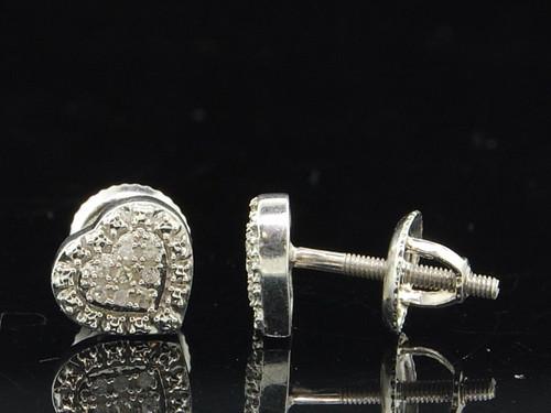 Ladies .925 Sterling Silver Designer Love Heart Diamond Studs Earrings 0.05 Ct.