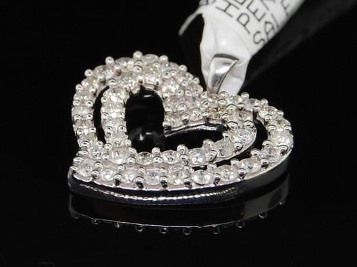 Diamond Heart Pendant Ladies 10K White Gold Round Pave Love Charm 0.78 Tcw.