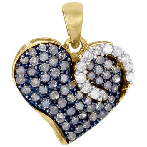 Brown Diamond Heart Pendant 10K Yellow Gold Round Cut Fashion Charm 0.75 Ct.