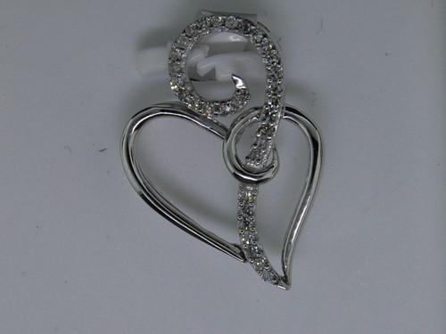 Diamond Heart Pendant Ladies 10K White Gold Designer Round Love Charm 0.10 Tcw.