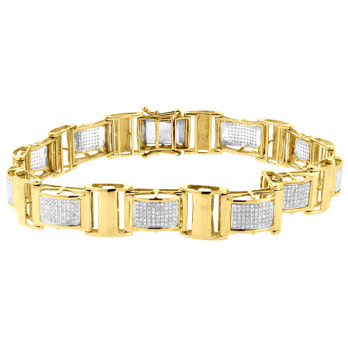 "Diamond Statement Link Bracelet 10K Yellow Gold 8.5"" Pave Round Cut 1.27 Ct."