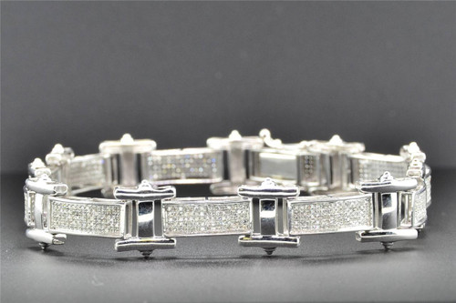 Genuine Diamond Bracelet 10K White Gold Pave Set Round Cut 8.5 Inch 1.42 CT