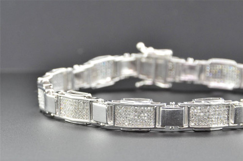 "10K White Gold Mens Genuine Diamond Link Bracelet Round Pave Set 8.50"" 1.55 Ct."