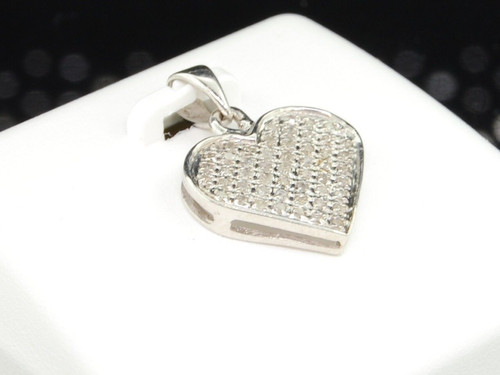 LADIES .925 STERLING SILVER DIAMOND LOVE HEART SHAPE PENDANT CHARM FOR NECKLACE