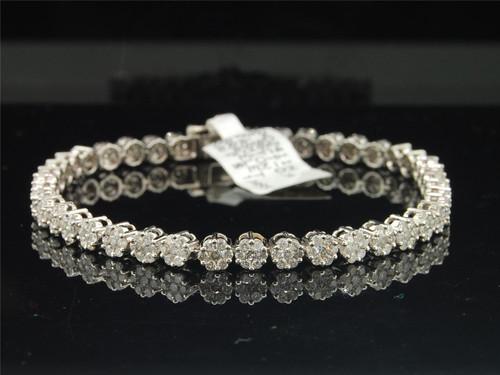 """Ladies 14K White Gold 3.96 ct. Diamond Flower Set Designer Link Bracelet 7.50"""""""