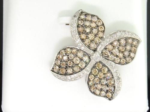 Brown Diamond Clover Leaf Pendant 10K White Gold Round Diamond Charm 1.06 Tcw.