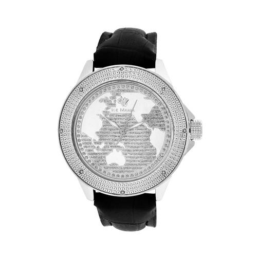 Men's Ice Mania IM3051 Genuine Diamond Illusion World Map Dial Watch 0.08 CT.