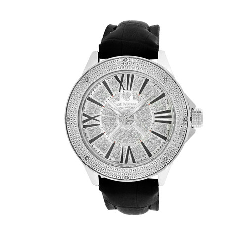 Men's Ice Mania IM3081 Genuine Diamond Illusion Dial Black Marker Watch 0.08 CT.