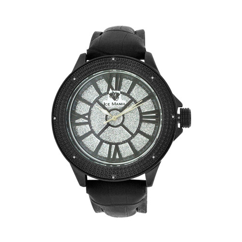Men's Ice Mania IM3083 Genuine Diamond Illusion Dial Black PVD Watch 0.08 CT.