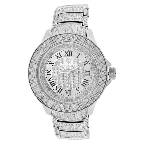 Men's Ice Mania IM3501MI Genuine Diamond Illusion Dial Metal Band Watch 0.08 CT.