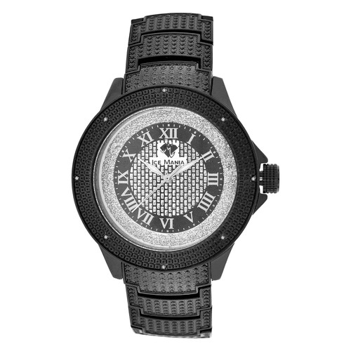 Men's Ice Mania IM3503MI Genuine Diamond Black PVD Watch w/ Metal Band 0.08 CT.