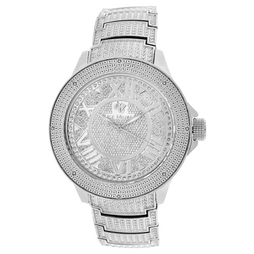 Men's Ice Mania IM3504MI Genuine Diamond Illusion Dial Watch Metal Band 0.08 CT.