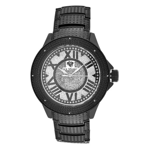 Men's Ice Mania IM3504MI Genuine Diamond Black PVD Watch Metal Band 0.08 CT.