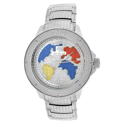 Men's Ice Mania IM3507MI Genuine Diamond World Map Dial Watch Metal Band 0.08 CT