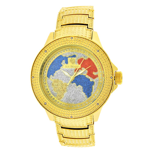 Men's Ice Mania IM3508MI Real Diamond Yellow Stainess World Map Watch 0.08 CT.
