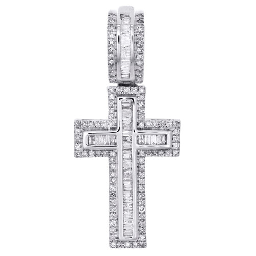 "10K White Gold Baguette Diamond Cross Pendant 1.25""  Invisible Set Charm 1/2 CT."