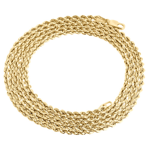 14K Yellow Gold 2mm Hollow Diamond Cut Rope Chain Link Necklace 16 - 26 Inches