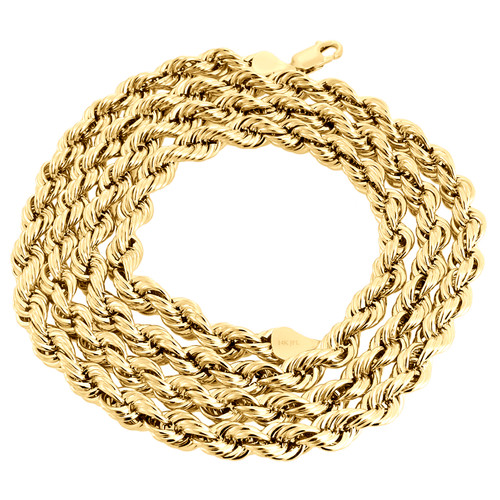 14K Yellow Gold 6mm Hollow Diamond Cut Rope Chain Link Necklace 22 - 30 Inches