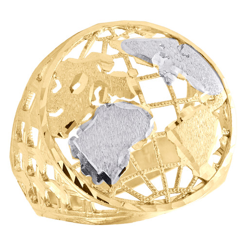 10K Yellow Gold Diamond Cut Textured World Map Statement Pinky Ring 23mm Band