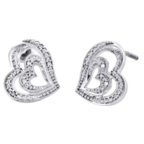 Sterling Silver Round Diamond Double Heart Stud Statement 13mm Earrings 1/20 CT.