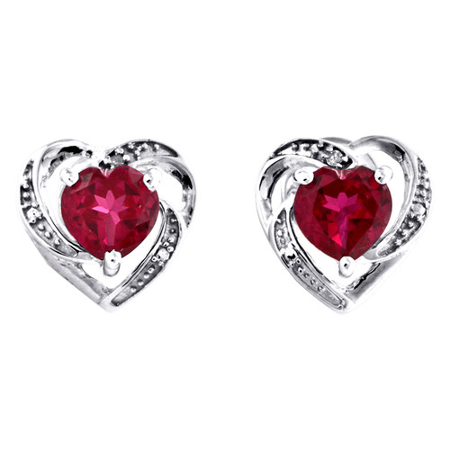 10K White Gold Round Created Ruby Real Diamond Heart Stud 11mm Earrings 3/8 CTTW