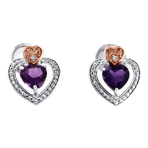 Sterling Silver Round Created Amethyst Heart Stud Diamond 12mm Earrings 7/8 CTTW