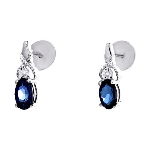 Sterling Silver Diamond Dangle Drop Oval Created Blue Sapphire Earrings 7/8 CTTW