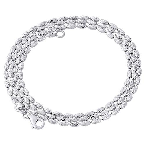 10K White Gold 2mm Rice Typhoon Moon Cut Italian Bead Chain Necklace 16-24 Inch