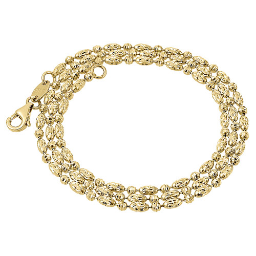 10K Yellow Gold 2MM Typhoon Moon Cut Link Chain Diamond Cut Necklace 16-30 Inch