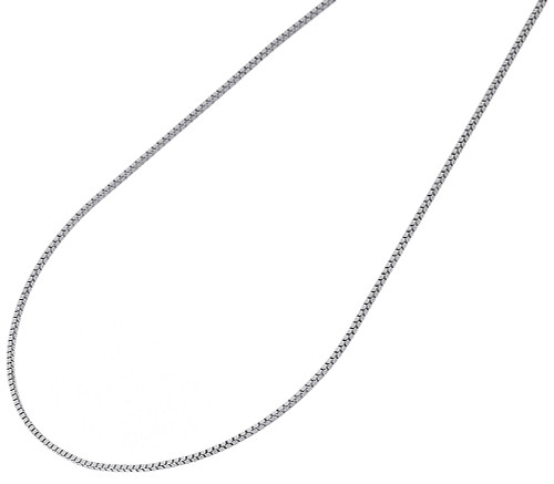 "10K White Gold 0.50MM Solid Box Chain Necklace 16"", 18"", 20"", 22"" & 24"" Length"