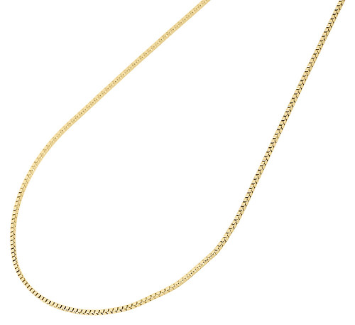 "10K Yellow Gold 0.50MM Solid Box Chain Necklace 16"", 18"", 20"", 22"" & 24"" Length"