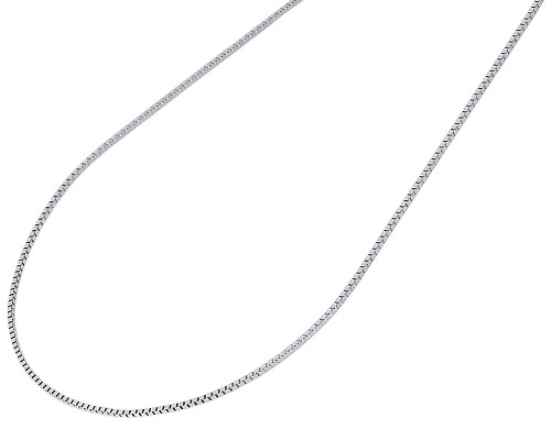 "10K White Gold 1MM Solid Box Chain Necklace 16"", 18"", 20"", 22"" & 24"" Length"