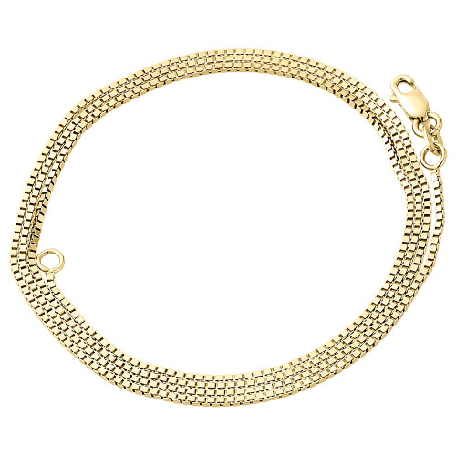 "10K Yellow Gold 1MM Solid Box Chain Necklace 16"", 18"", 20"", 22"" & 24"" Length"