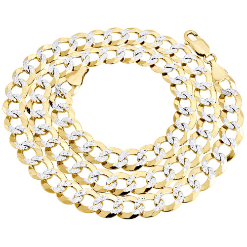 14K Yellow Gold 9.50mm Solid Diamond Cut Cuban Chain Link Necklace 22-30 Inches