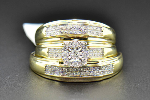 Diamond Trio Set His Hers Matching Engagement Ring Wedding Band 10K Yellow Gold 0.35 CT.